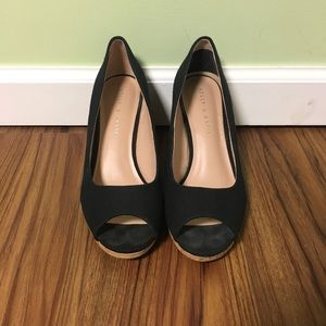 Black Peeptoe Kelly and Katie Wedges sz 8